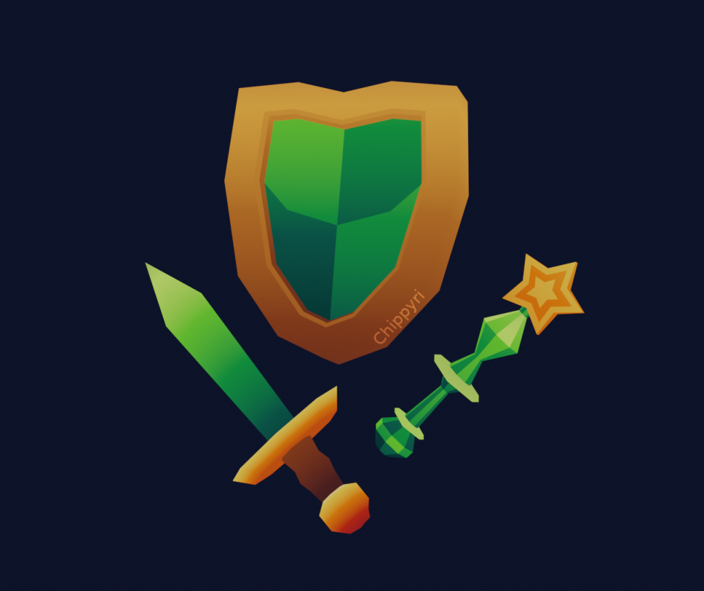 3D Render of a Sword, Shield and Wand
